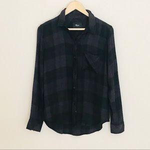 Rails Black Long Sleeve Button Down Shirt. SZ S